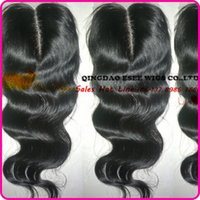 Cheap DHL Free shipping 6A 100 Virgin Peruvian Hair Lace Closure with bleached knots middle free 3 part natural color can be dyed