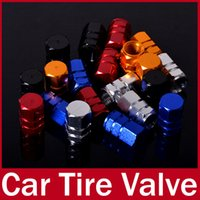 Wholesale 4SETS Universal Tire Tyre Wheel Round Ventil Valve Stems Cap For Auto Car Truck Red Blue Black Silver Gold