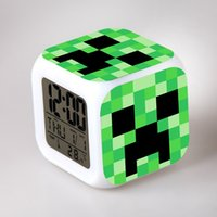 Wholesale 24pcs Minecraft Design alarm clock frozen alarm clock LED Colors Change Digital Alarm Clock Night Colorful Changing toys