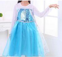 Cheap 2014 Princess Frozen Queen Elsa Party Fancy Dress Girl's Cosplay Costume Clothes 3-8Y Girls Dresses Christmas Lace Elsa Dress