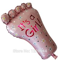Pink baby feet favors - Baby foot foil balloon Baby shower party supplies Amusement Toys Party favors New born baby girl cm retail