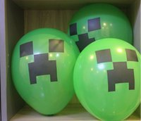 Wholesale Minecraft Balloon Enderman Balloon inch Party minecraft creeper balloon material Purple green eyes Party Kids Birthday Party Decor Gift