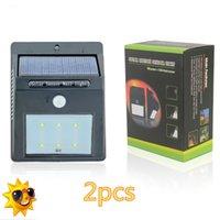 Wholesale New Arrival LED Solar Power PIR Motion Sensor Outdoor Security Lamp Waterproof Garden Wall Lamp Landscape lights X2