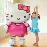 inflatable cartoon - 2015 large size Hello Kitty Cat foil balloons cute cartoon birthday wedding decoration party inflatable air balloons Classic toys