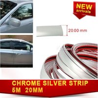 Cheap Car 20mm x 16ft Silver Strip Molding Trim PVC Impact Styling Bumper Interior Decoration Side Grille Adhesive Exterior Chrome