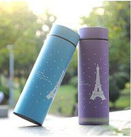 Wholesale ml Eiffel tower stainless steel vacuum flask and Thermos cup straight Cup creative tumbler thermos flask
