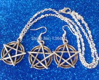 Wholesale 12 Sets Vintage Silver Wiccan Pentacle Charms Drop Earrings amp Necklaces Jewelry Sets For Women With Gift Box DIY Jewelry P2183