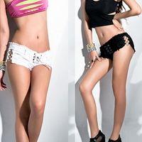ballroom jeans - Sexy Women Summer Shorts Nightclub Lace up Jeans Shorts Ballroom Dancing Clothing White Black XE0011 salebags