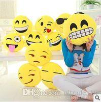 Wholesale 11 Styles Cushion Cute Lovely Emoji Smiley Pillows Cartoon Facial QQ Expression Cushion Pillows Yellow Round Stuffed Pillow LJJC1163