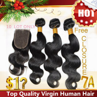 Wholesale Free Lace Closure Brazilian Virgin Hair Extensions A Peruvian Indian Malaysian Cambodian Human Hair Weave Body Wave
