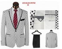 Wholesale unique printed dots fashion suit tuxedo comes in colors white surface black dots