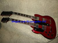 Cheap Red 1275 Custom Double Neck Left Handed Electric Guitar mahogany body high quality hot
