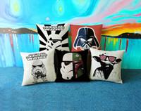 backrest pillow cover - 45 CM Creative hand painted Star Wars robot pillow Yoda linen pillow cover car cushions Sofa backrest Halloween gifts