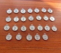 alphabet upper case - 26 A Z Alphabet Letter Round Capital Letter Charms Script Letter in Upper Case Initials Monogram Add on Charms x12mm