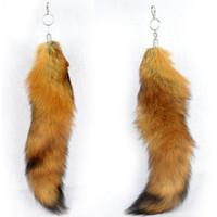 fire fox - Ursfur Canadian Red Fox Tails Keychains Fire Fox Tail Fox Fur Fur Tassel Bag Hanging Tag Key Strap Chain Natural Color quot Keyring K93