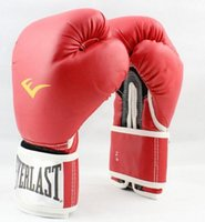 Wholesale PU Leather Gloves MMA Fight Gloves Everlast Boxing Gloves color to choose Fiber Material Sanda Gloves size Ounce