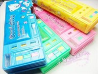 automatic pencil box - Multifunctional stationery box double faced automatic plastic pencil box