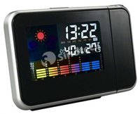 Wholesale Digital Projection Alarm Clock Weather USB LCD Snooze Projector Clocks Color Display LED Backlight Watch Desktop Clocks DHL
