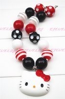 bubble gum necklace - Hello Kitty in Red and White with a touch of Sparkle Bubble Gum Necklace CB173