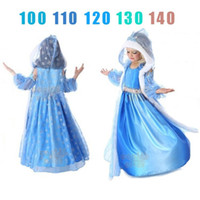 beaded novelty gift - choose Size Girls Snowflake Dresses with cap and cape snow printed Romantic princess girl dress children kids cloak christmas Gift K28