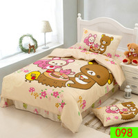 baby girl comforter sets - 100 cotton kids bedding set Bear cartoon bed set for baby child boy girl cute cartoon bedclothes duvet cover set Home Textiles Bedding set