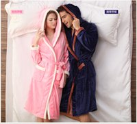 Wholesale Hot sale solid Coral soft and warm Fleece hooded Robe set Lovers Sleepwear Flannel Robes Men Women Bathrobes pajamas nightgown