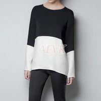 Cheap Cheap Autumn Tops Women Chiffon Casual Patchwork Loose Blouse Full Sleeve Shirt Street Wear Black and White Korean Style B19