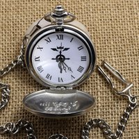 Wholesale Watches Clocks Pocket Fob Watches New Silver Case Fullmetal Alchemist Pocket Watch Cosplay Edward Elric with Big Chain Anime boys