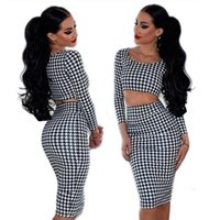 Wholesale Sexy Women Houndstooth Long Sleeve Tops Set Midi Dress Body con Club wear