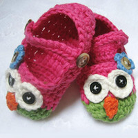 Cheap Wholesale-Free Shipping 1pair Retail Mary Janes Slippers Baby Crochet Shoes,Owl Pattern Shoes in Green and Hot Pink for FirstWalkers Baby