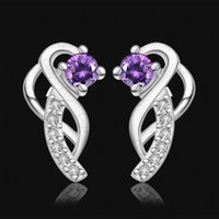 Wholesale 2015 fashion jewelry sterling silver studs earrings for women piercings crystal Fine gemstone jewelry silver earrings Kore