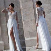 long sleeve evening dresses - 2015 Sheer Long Sleeves Lace Chiffon Evening Dresses Sexy Sweetheart Evening Gowns Split Prom Dresses Summer Beach Informal Wedding Dresses