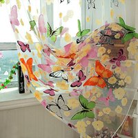 Slip-On window - Hot Selling Butterfly Print Sheer Curtain Panel Window Balcony Tulle Room Divider Colorful Home Textiles C223
