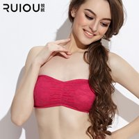 Cheap Wholesale-2015 New Ruiou Cotton Tube Top Women Sexy Bra Underwear Lace Basic Pectoral Corset Bustier Crop Top Strapless With Bust Pad