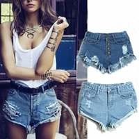 Cheap New Fashion High Waist Denim Shorts Womens Skinny Ripped Jeans Hole Vintage Shorts 2 Colors Drop Shipping 82212
