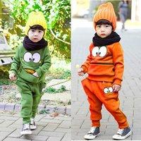 Wholesale Autumn Unisex Set Baby Kids Smiling Face Pattern Sport Hooded Hoodie Suit Cotton Fleeces Tracksuit For Boys Girls Top Pants