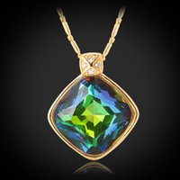 green topaz - Rainbow Fire Opal Rhinestone Fancy Stone Necklace Pendant K Real Gold Plated Shiny Mystic Topaz Jewelry For Women MGC P344
