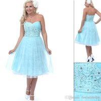 Cheap Reference Images Aqua Prom Dresses Best A-Line Sweetheart vestido curto formatura