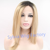 blonde wigs short hair - Natural look irregular short straight blonde ombre dark roots wig cosplay wigs synthetic lace front wig exquisite brazilian hair