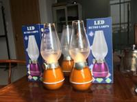 Wholesale Vintage LED Blow Light Night Table Desk Lamp W Kerosene Lamp Style Adjustable Brightness Energy saving Novelty Lighting USB Rechargeable
