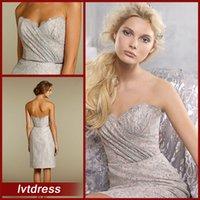 Menos de 100 vestidos de dama de honor cortos vaina cariño longitud de la rodilla de encaje volantes vestidos de fiesta