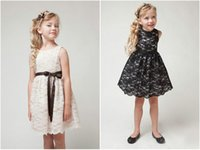Wholesale Kids Evening Clothes - 3-10Y 2016 Baby Girls Summer Sleeveless lace Vest Princess Dresses with ribbon Children full Formal Evening Party Dress Kids Clothes