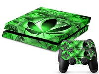 Cheap Green leaf Green World Vinyl Decal PS4 Skin Stickers for Sony PlayStation 4 PS4 Console+2 Pcs Stickers for Controllers