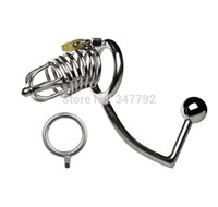 Wholesale STAINLESS STEEL MULTI FUNCTION MALE CHASTITY DEVICE LARGER CAGE FETISH A160