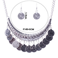 Wholesale Statement Necklace Coin Fringe Statement Jewelry Sets Dangle Earrings Choker Necklace For Women Jewelry