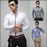 Wholesale 2015 new men s white shirts Men s casual long sleeved Shirts size M L XL XXL