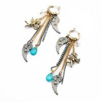 antique feather tree - Shijie Statement Trendy Jewelry Elegant Antique Feather Tassel Drop Earrings For Girls earring jewelry tree