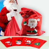 backpack stand - 4 size Santa Claus backpack red Non woven gift bag applique candy bags for Christmas Decorations Supplies via FedEx ship