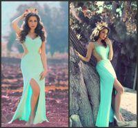 Wholesale Sexy Girls Tight Wear - Light Sky Blue Prom Dresses Low Back Mermaid Evening Gowns Vestido De Fiesta Beads Crystal Girl Formal Dress Tight-High Split Party Wear SHJ
