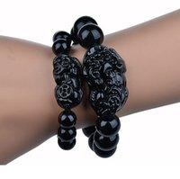 rosary for man - Beads Bracelet For Men Women prayer bracelet species obsidian mm mm mm Black coloured glaze beads pi xiu rosary prayer bracelet